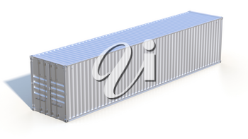 Ship cargo container 40 feet length. Grey metallic freight box with shadow isolated on white background. Marine olgistics, harbor warehouse, customs, transport shipping concept. 3D illustration