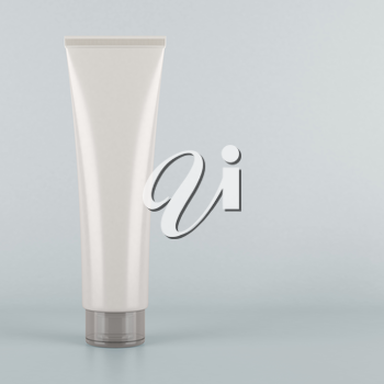 White tube. Product mock up on grey background. Blank packaging for cosmetic products like cream or lotion, as well as tooth paste, hair gel, acrylic paint, sauce and more.