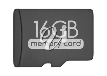 MicroSD memory card. 16 GB. Top view. Isolated on white