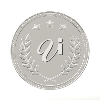 Silver medal with laurels and stars. Round blank coin with ornaments. Victory, best product, service or employee, second place concept. Achievement in sports. Isolated on white background.