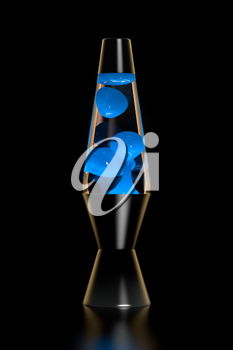 Lava lamp with blue lava on black background. 3D illustration