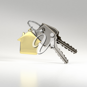 Two keys on a ring with a green plastic house chain. Concept of buying or renting a house, new home. Photo-realistic illustration.