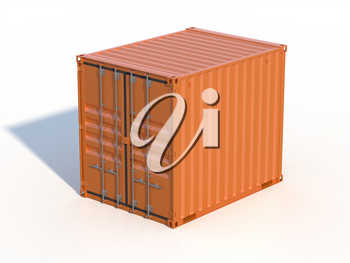 Ship cargo container 10 feet length. Brown metallic freight box with shadow isolated on white background. Marine logistics, harbor warehouse, customs, transport shipping concept. 3D illustration