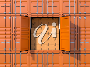 Ship cargo container side view with open doors, full with cardboard boxes. Brown freight box background. Marine logistics, harbor warehouse, customs, transport shipping concept. 3D illustration