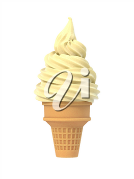 Vanilla soft ice icecream in waffle cone. Isolated on white background. Delicious flavor summer dessert. Graphic design element for advertisement, menu, scrapbooking, poster, flyer. 3D illustration
