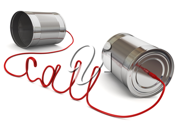 two cans connected by a computer wire in the form of the word call