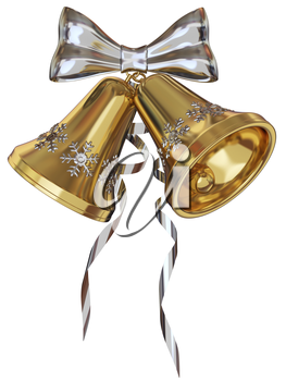 Golden Xmas bells with silver snowflakes and