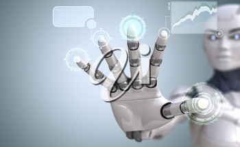 Robot hand touches Sci-Fi interface