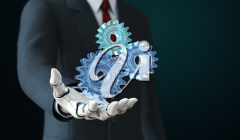 Robot in suit holding coghwheels in his hand.3D illustration