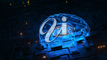 Machine learning and artificial intelligence concept. 3D illustration
