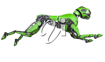 Green Robot dog runs on a white background. 3D illustration