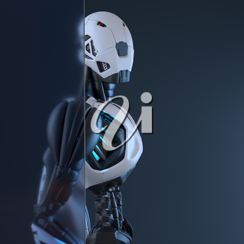 Robotstands behind of glass wall. 3D illustration