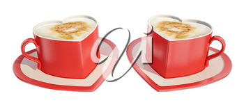 Two symmetrical red heart-shaped coffee cups with saucers