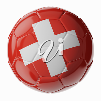 Football/soccer ball with flag of Switzerland. 3D render