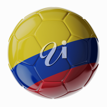 Football/soccer ball with flag of Colombia. 3D render
