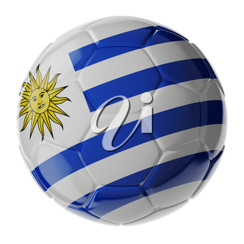 Football/soccer ball with flag of Uruguay. 3D render