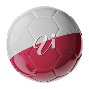 Football/soccer ball with flag of Poland 3D render