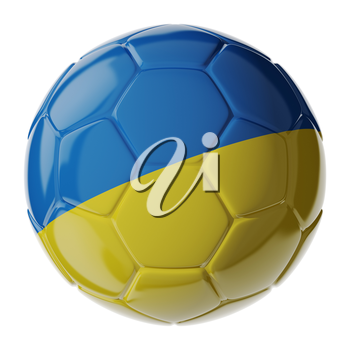 Football soccer ball with flag of Ukraine. 3D render