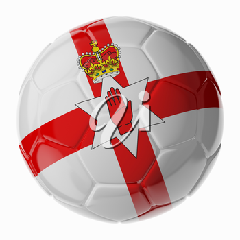Football soccer ball with flag of Northern Ireland. 3D render