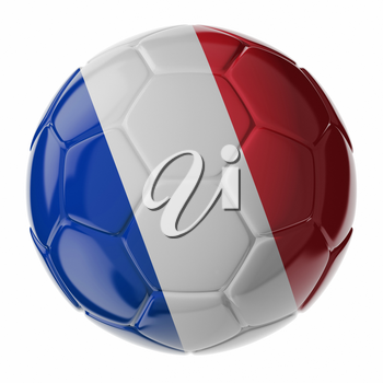 Football/soccer ball with flag of France. 3D render