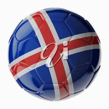 Football soccer ball with flag of Iceland. 3D render