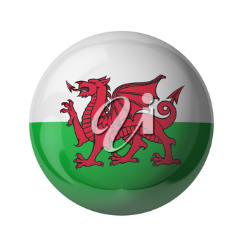 3D flag of Wales isolated on white