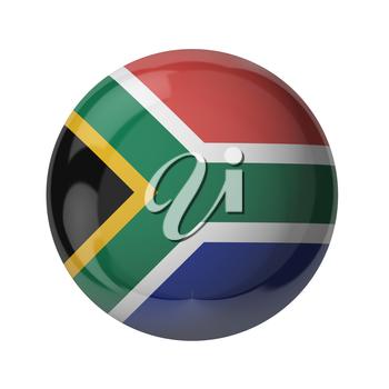 3D flag of South Africa isolated on white