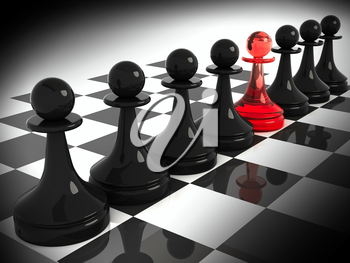Chess pieces: one red made of glass pawn among seven classical shape black pawns on the chessboard. 3d render illustration.