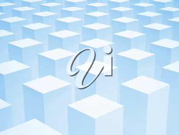 Abstract 3d background with array of identical blue boxes