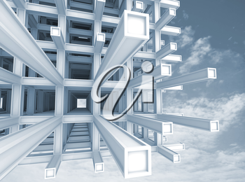 Architecture blue monochrome background. Modern abstract braced construction above cloudy sky