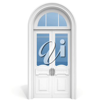 Classical architecture style interior object: white wooden door with reflected glass sections,  isolated on white