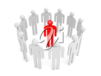 Abstract white 3d people stand in ring with one red person inside. Condemnation illustration concept