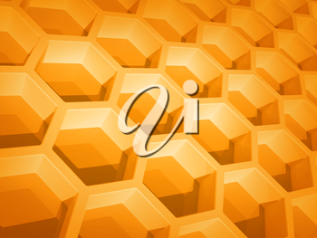 Abstract yellow honeycomb structure background. 3d render illustration