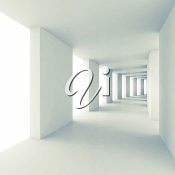 Abstract architecture 3d background, empty white corridor perspective