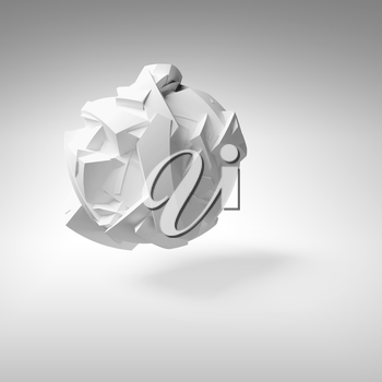 Abstract 3d object, white big flying chaotic fragmented shape with soft shadow