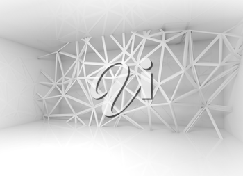 Abstract white room interior with chaotic 3d wire frame construction over the wall