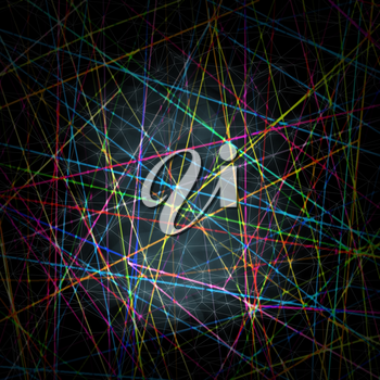 Abstract digital square background with chaotic blurred colorful lines pattern and white wire-frame triangle mesh surface