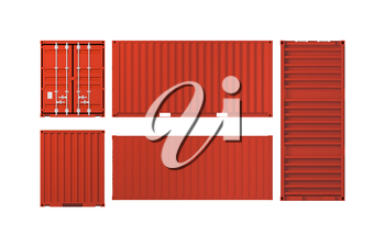 Projections of red cargo container isolated on white background, 3d illustration