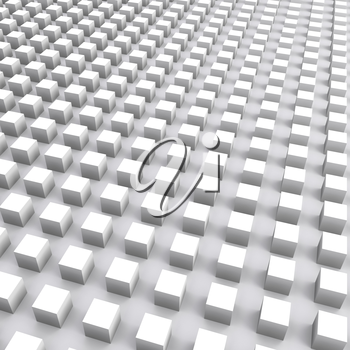Abstract square digital background with white cubes array, 3d illustration