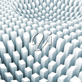 Abstract digital background with curved surface formed by top sides of light blue columns area array, 3d illustration