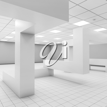 Abstract white empty office interior with chaotic geometric constructions, 3d illustration