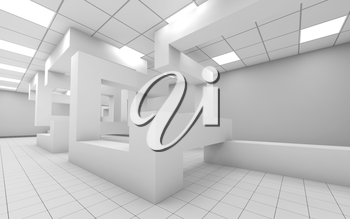 Abstract white empty office room interior with chaotic geometric construction, 3d render illustration