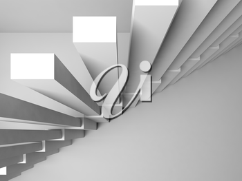 Abstract architecture background, stairs construction on white wall, 3d interior illustration