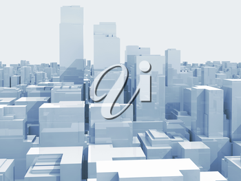 Abstract digital cityscape with tall skyscrapers and office buildings, blue toned 3d illustration