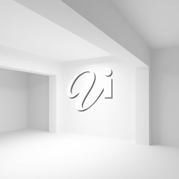 Abstract white empty interior background with soft illumination, 3d illustration