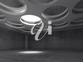 Empty dark concrete hall interior with round illumination hole in white suspended ceiling, 3d illustration background
