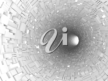 Abstract white tunnel interior with technological extruded segments. Digital 3d illustration