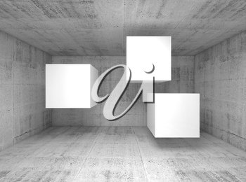 Abstract concrete interior with three white flying cubes as a banners place, 3d illustration background