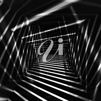 Abstract dark monochrome background with bright night light beams, 3d illustration