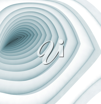 Abstract digital background, white bent tunnel with blue shadows, 3d illustration